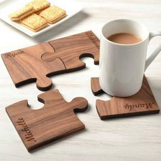 Personalised Wooden Gift Set Of Four Walnut Coasters