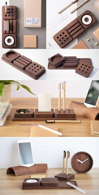 Solid Wood Desk Tidy Modular Organizers Set Smart Phone Dock Stand Office Stationery Organizer