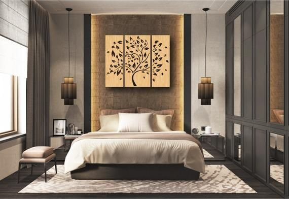 3 Tree Wall Hanging, Wall Decor Decal, Wall Vinyl, Tree Patterns, Laser, CNC Router, Plasma, Room Decor | Cdr, Svg, Dxf, Ai, Eps, Jpg Files