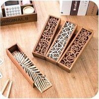 Hollow Wood Pencil Case Storage Box Wooden Box Pencil Case School Gift | Wish