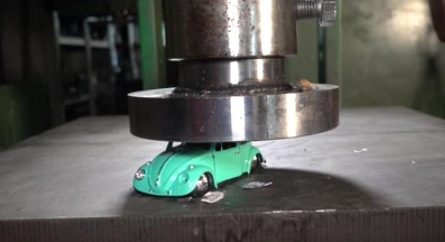Hydraulic Press Decimates Realistic Toy Cars In One Satisfying Crunch
