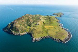 Aerial photograph of Bardsey Island, Llyn Peninsular, Gwynedd, North Wales.