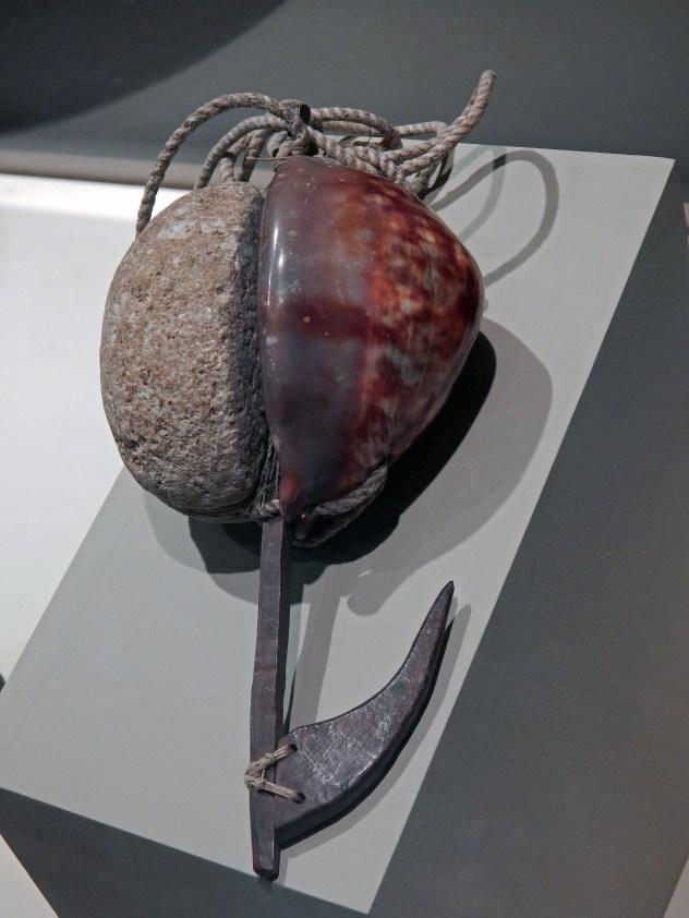 Octopus hook of stone, shell, rope & wood (Hawai'i)