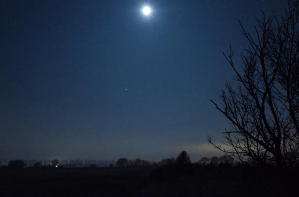 Total lunar eclipse partial phase near Burrow village, Suffolk UK