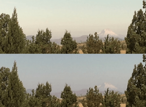 Mount Hood under normal illumination conditions and before total solar eclipse