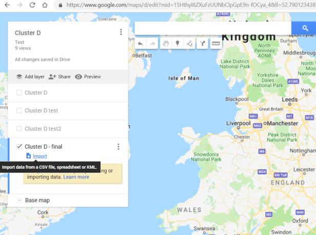 Google Mymaps import layer option