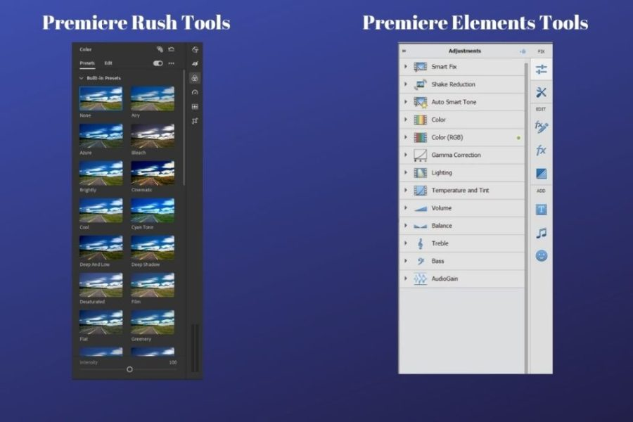 Premiere Rush and Elements Tools