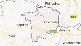 Kaart luchthavenvervoer in Assenede
