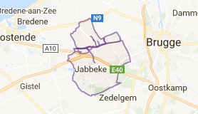 Kaart luchthavenvervoer in Jabbeke