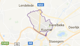 Kaart luchthavenvervoer in Kuurne