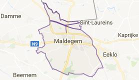 Kaart luchthavenvervoer in Maldegem