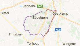 Kaart luchthavenvervoer in Zedelgem