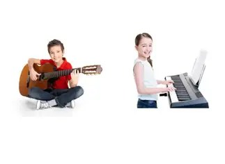 Boy guitar lesson and girl piano lesson