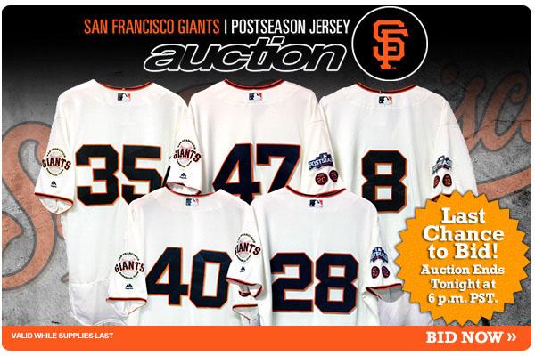 new product 396dd b268f Last Chance to Bid: San Francisco Giants Postseason Jersey ...