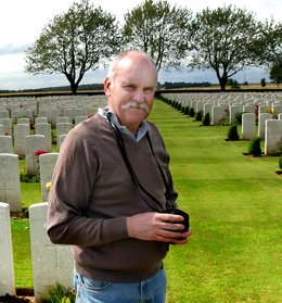 Bill Wicks in Caterpillar Valley Cemetery on the Somme