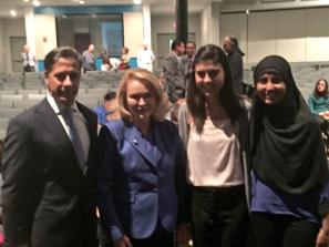 (From Left to RIght) Superintendent Alberto Carvalho, School Board Chair Perla Tabares Hantman, MLEC's Class of 2016 President Elizabeth Martinez, and MLEC's Class of 2015 Class President Sana Chaudhry.