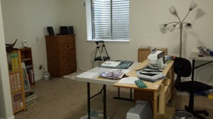 Sewing station with folding table extension