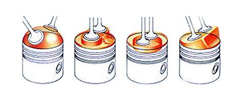 Najčešći oblici komore za sagorevanje: polukugla, 'kada', u čelu klipa i klinasti (PD)