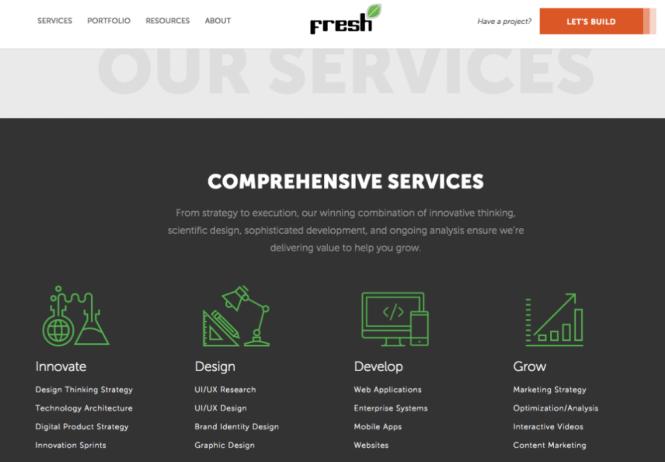exemple de page de services