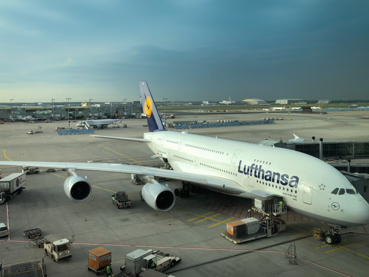 Airbus A380 after arrival at Frankfurt