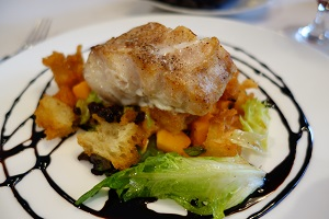 Fresh caught Grouper with squash, currents.