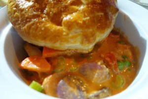Lobster pot pie with lobster cognac sauce