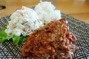 bbq pork in sweet sauce and traditional sides