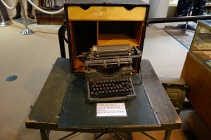 Desk and typewriter used in training field