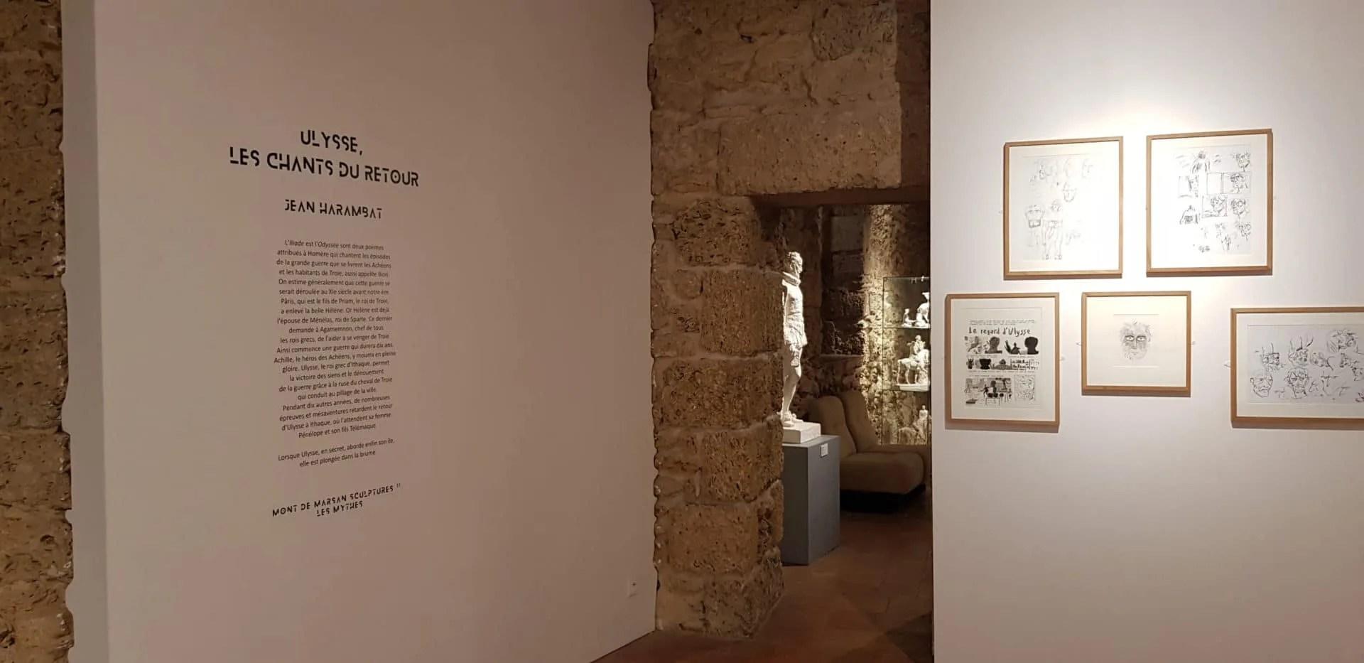 Texte découpé et collé dans la salle des arts graphique du musée despiau wlérick