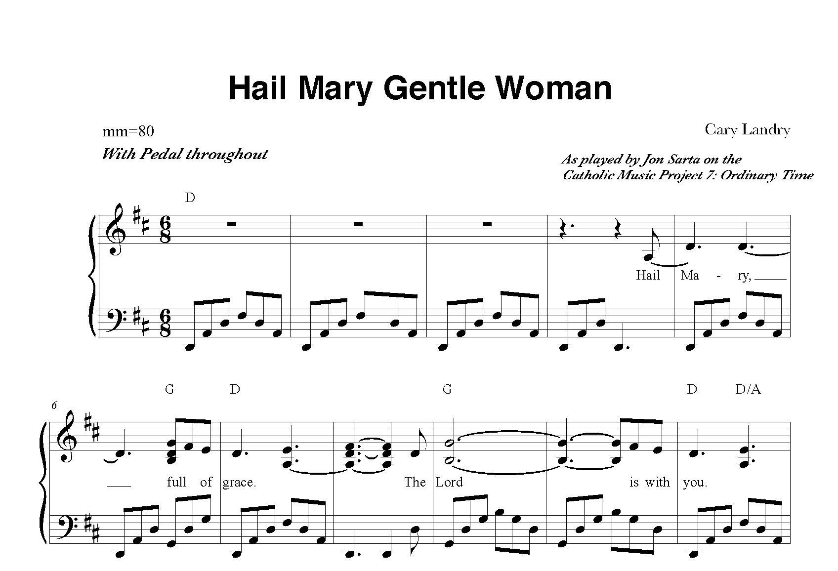 Hail Mary Gentle Woman Sheet Music
