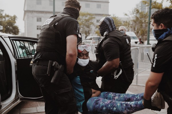 Protestor Salamander is arrested by Memphis police during a demonstration outside City Hall in 2020.