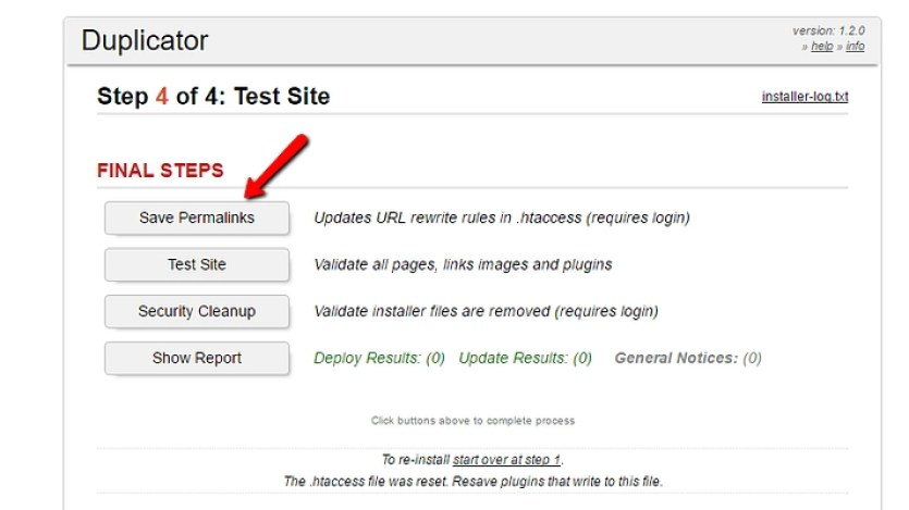 salvar permalinks para atualizar URLs