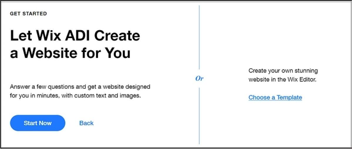 Use a ferramenta Wix ADI para criar um site
