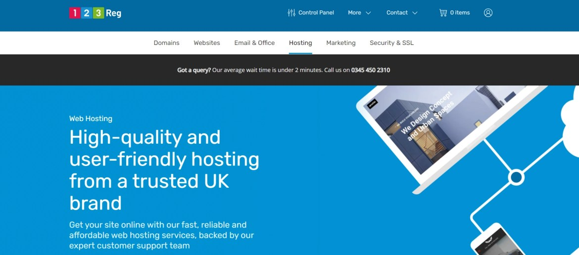 Cheap UK web hosting is available from the 123-Reg homepage.