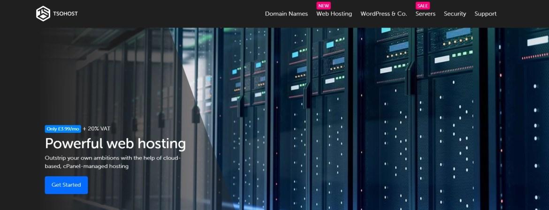 The tsoHost homepage.