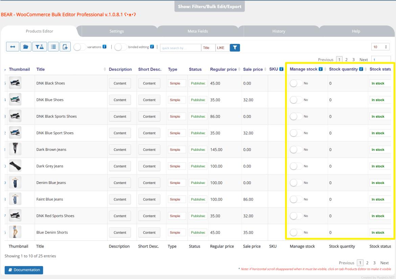 Bulk WooCommerce inventory management plugin