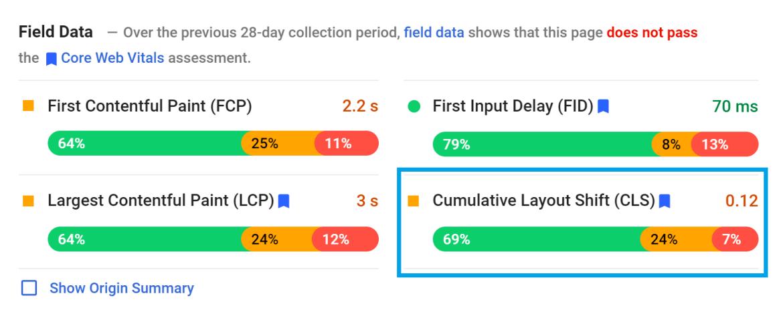 How to find Cumulative Layout Shift score in WordPress