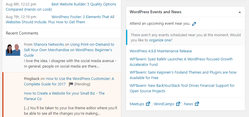 A list of nearby WordPress events.