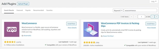 Installing the WooCommerce plugin.