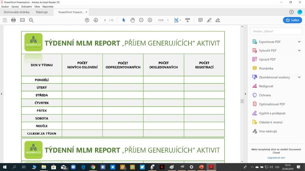 PDF Plánovač MLM Aktivit - Jednoduchý Report pro vyhodnocování statistiky úspěšnosti