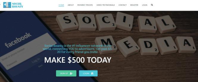 Page d'accueil mise à jour social bounty