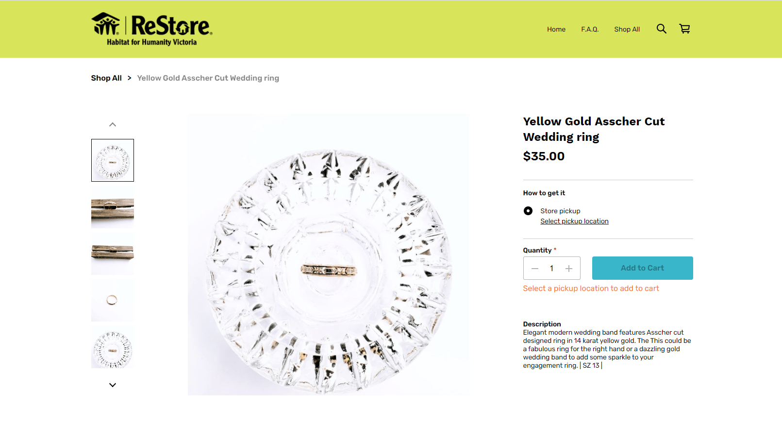 yellow gold ring product display