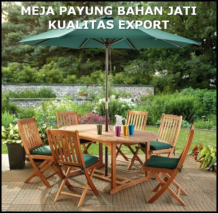 meja payung kayu outdoor