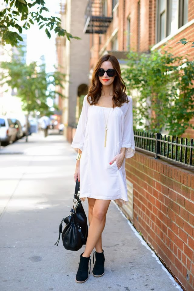 White Dress Black Booties M Loves M