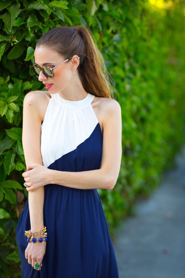 navy and white dress, M Loves M