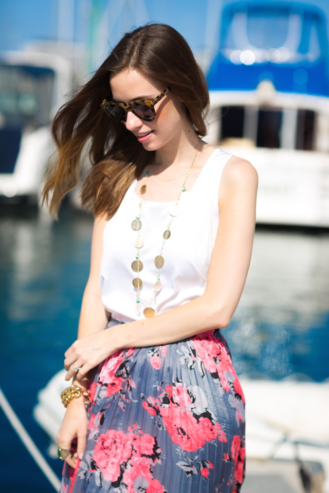 white top and floral skirt, M Loves M
