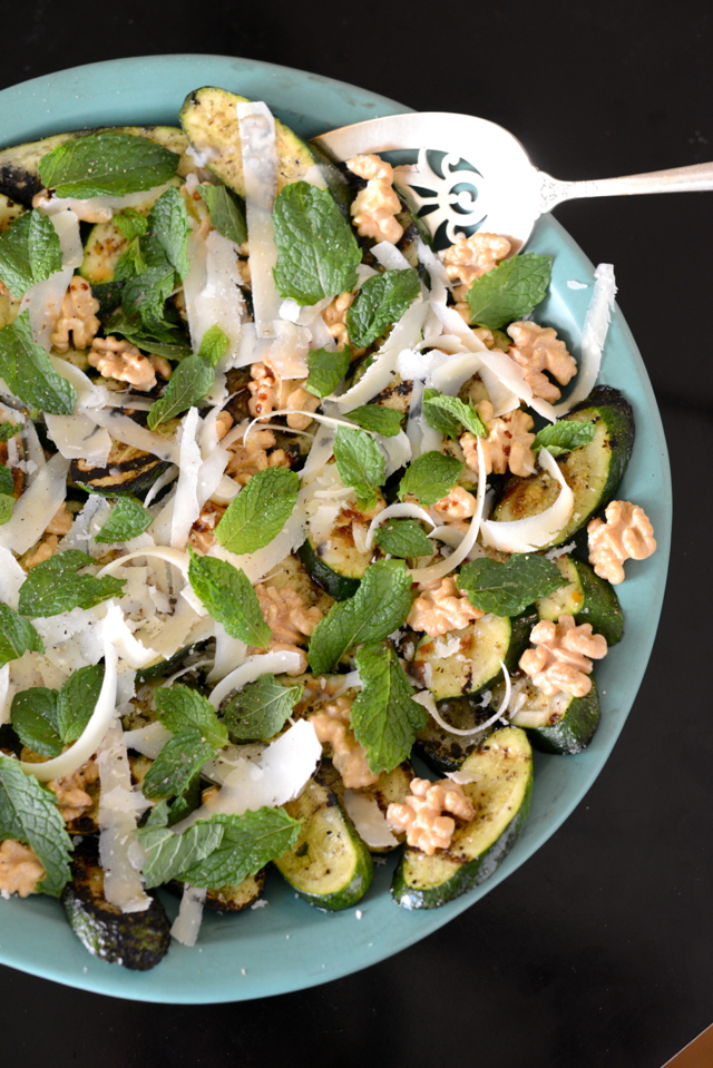 easy summertime side dish, grilled zucchini and walnut salad with mint {M Loves M}