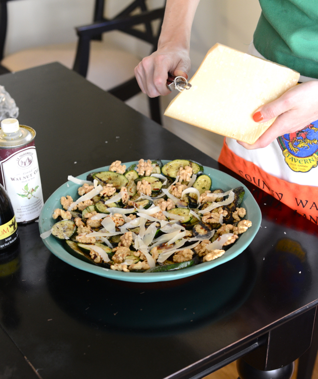grilled zucchini and walnut salad with Parmesan and mint, M Loves M