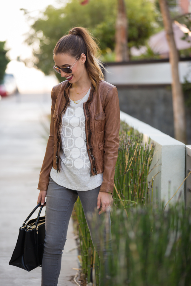 brown leather jacket with printed tee, M Loves M {click through for more photos and product info}