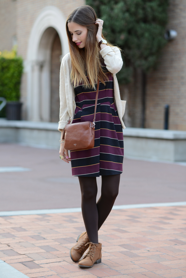fall outfit: striped dress with crossbody bag and ankle boots via M Loves M